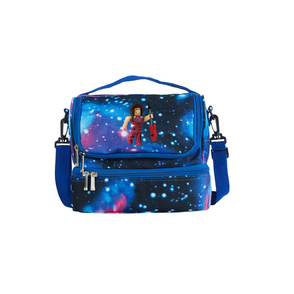 Roblox  RoCitizens Scarlet Minifigure Logo 2019 Two Compartment Galaxy Lunch Bag