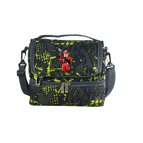 Roblox Series  Westover Fire Dep Two Compartment Green Graffiti Lunch Bag