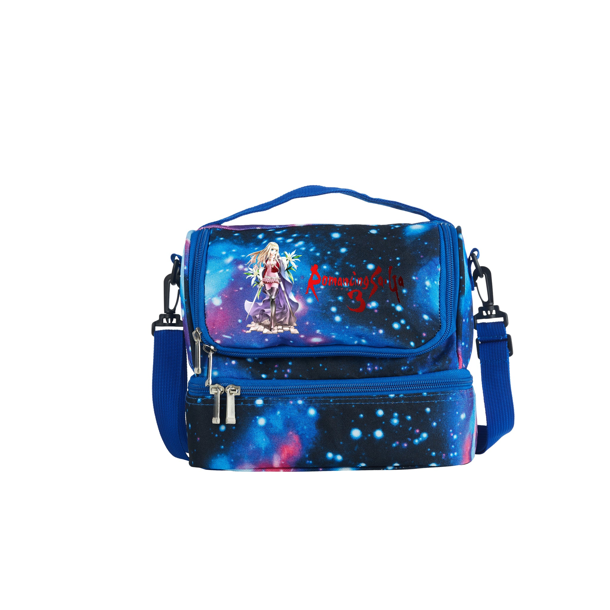Romancing SaGa Boys Girls Durable Two Compartment Blue Galaxy Lunch Bag