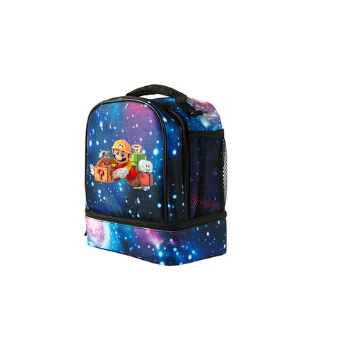 Super Mario Maker 2019 Boys Girls Two Compartment Galaxy Lunch Bag For School