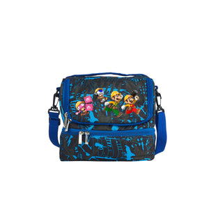 Super Mario Maker 2 Mario Bros Toadette Logo 2019 Two Compartment Blue Graffiti Lunch Bag