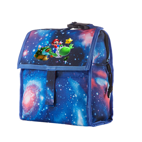 Super Mario Starry Sky Freezable Lunch Bag with Zip Closure