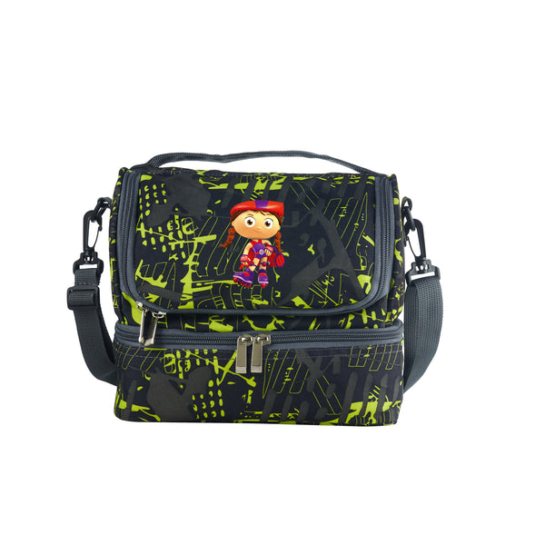Super WHY Whyatt Beanstalk Pig And Princess Pea Logo Kids School Two Compartment Green Graffiti Lunch Bag