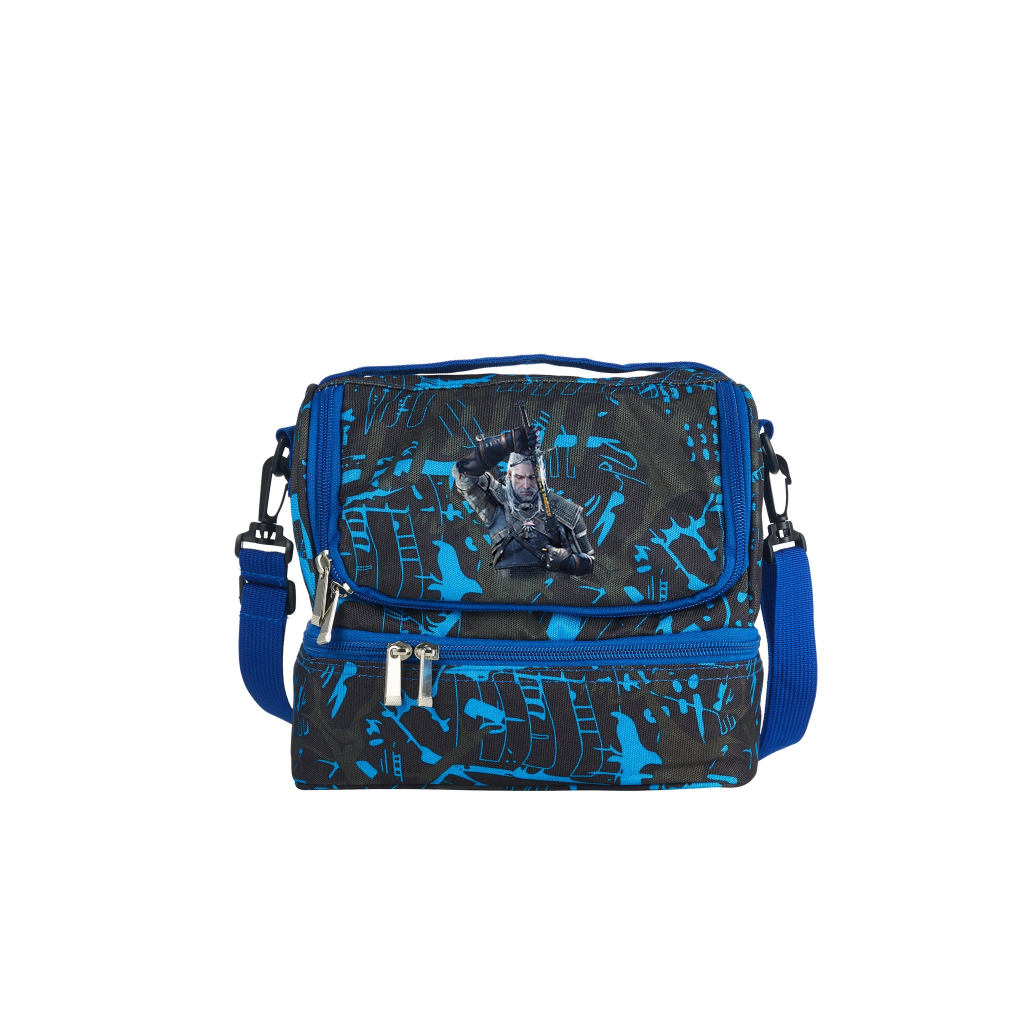 The Witcher 3 Wild Hunt Geralt of Rivia 2019 Boys School Two Compartment Blue Graffiti Lunch Bag