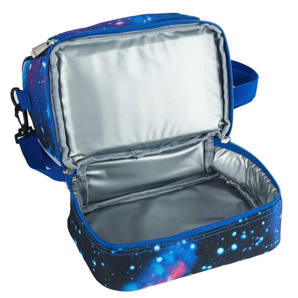 LOL Surprise Cartoon Durable Two Compartment Blue Galaxy Lunch Bag