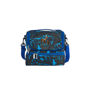 Way To The Woods Logo Boys Girls School Two Compartment Blue Graffiti Lunch Bag
