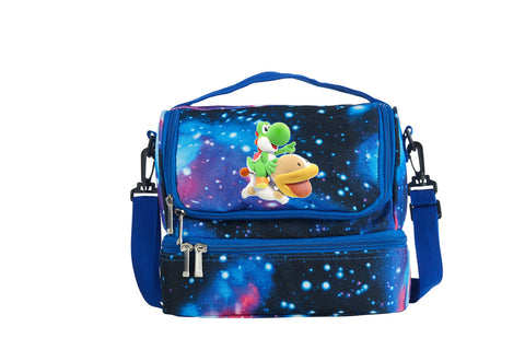 Yoshi's Crafted World Logo Two Compartment Galaxy Lunch Bag