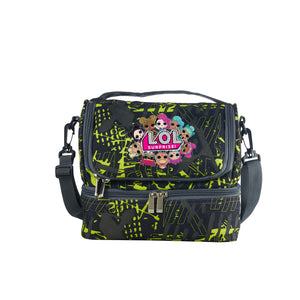 2019 Kids LOL Surprise Durable Two Compartment Two Colors Graffiti Lunch Bag For School
