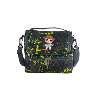 Kids LOL Surprise Cartoon Girl Durable Two Compartment Two Colors Graffiti Lunch Bag For School