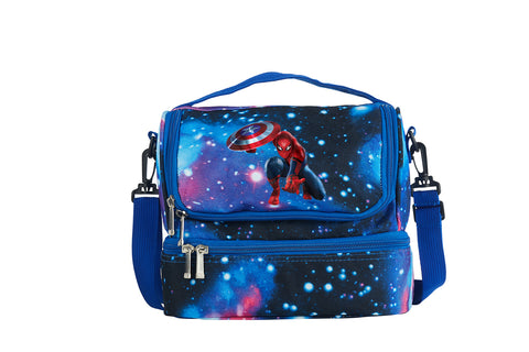 Spider Man Boys Girls Two Compartment Galaxy Lunch Bag