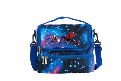 Spider Man Boys Girls Durable Two Compartment Galaxy Lunch Bag