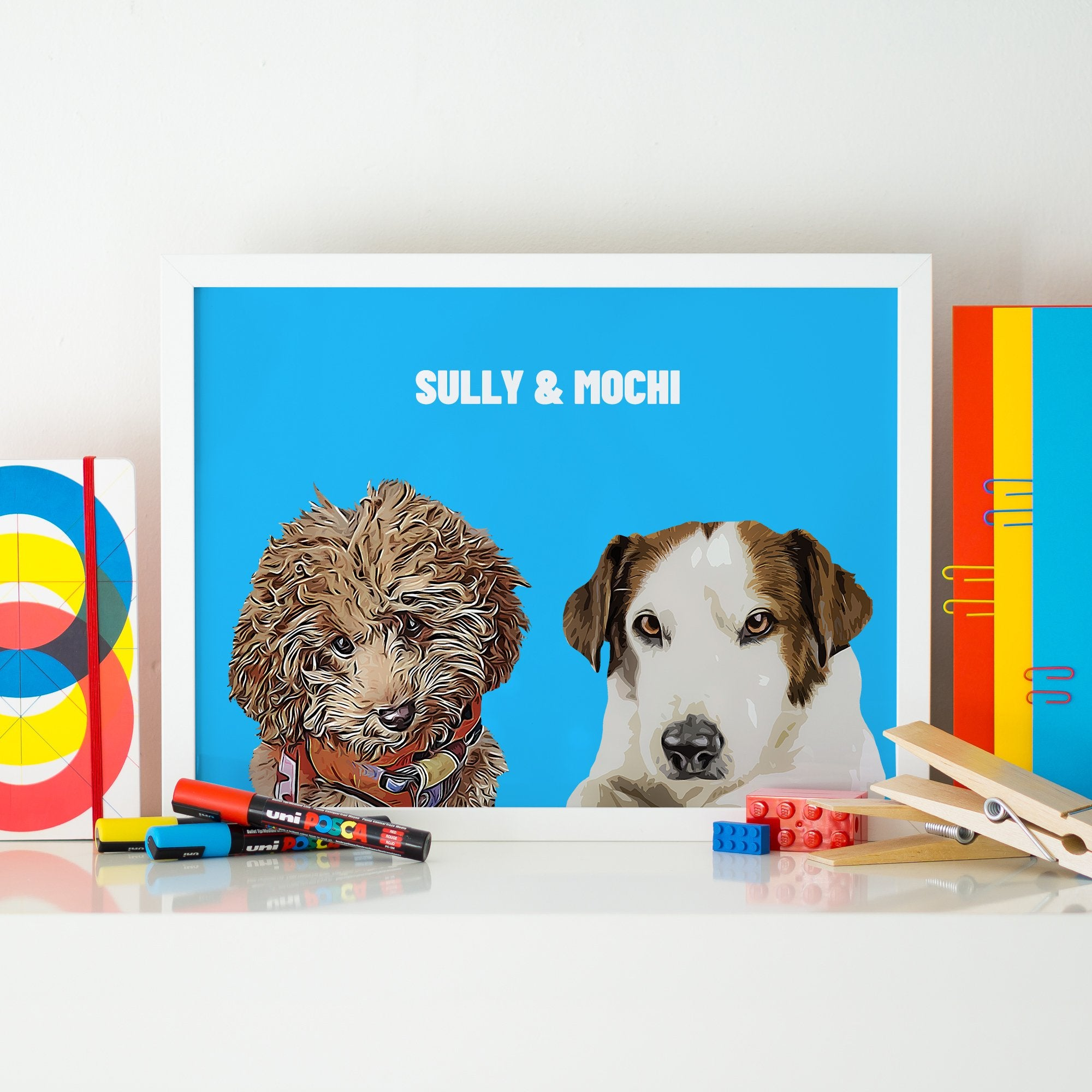 Personalised Pet Print with Two Pet Dog Faces