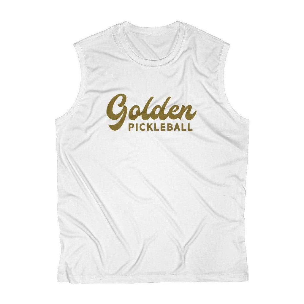 Golden Logo Men's Sleeveless Performance Tee - Golden Pickleball Paddles