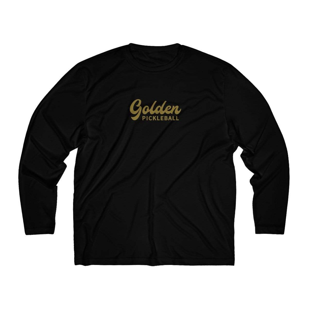 Golden Logo Men's Long Sleeve Moisture Absorbing Tee - Golden Pickleball Paddles