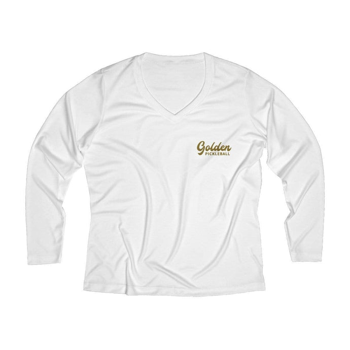 Golden Logo Women's Long Sleeve Performance V-neck Tee - Golden Pickleball