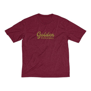 Golden Logo Men's Heather Dri-Fit Tee - Golden Pickleball Paddles
