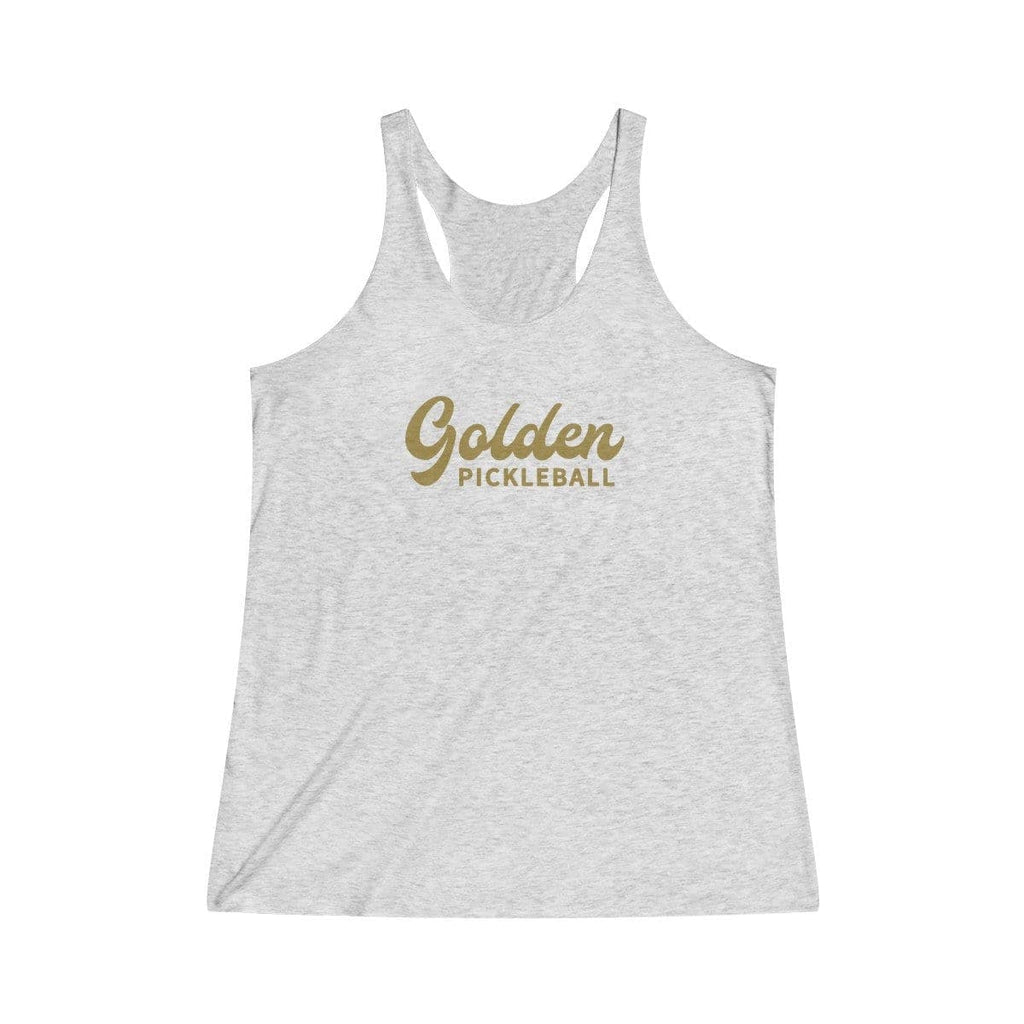 Golden Logo Women's Tri-Blend Racerback Tank - Golden Pickleball Paddles