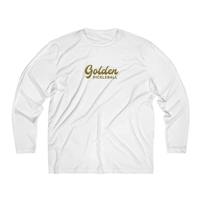 Golden Logo Men's Long Sleeve Moisture Absorbing Tee - Golden Pickleball