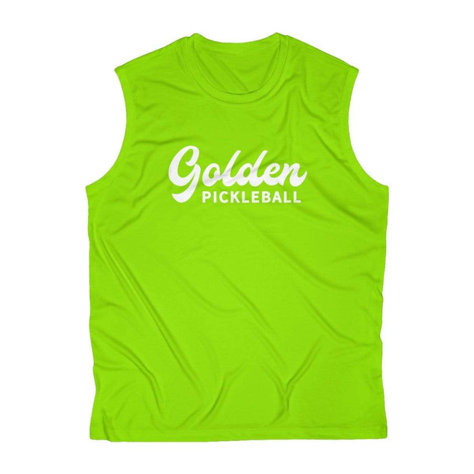 Golden Logo Men's Sleeveless Performance Tee - Limited Edition Florescent - Golden Pickleball