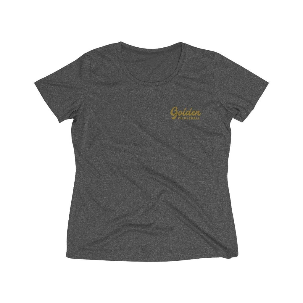 Golden Logo Women's Heather Wicking Tee - Golden Pickleball Paddles