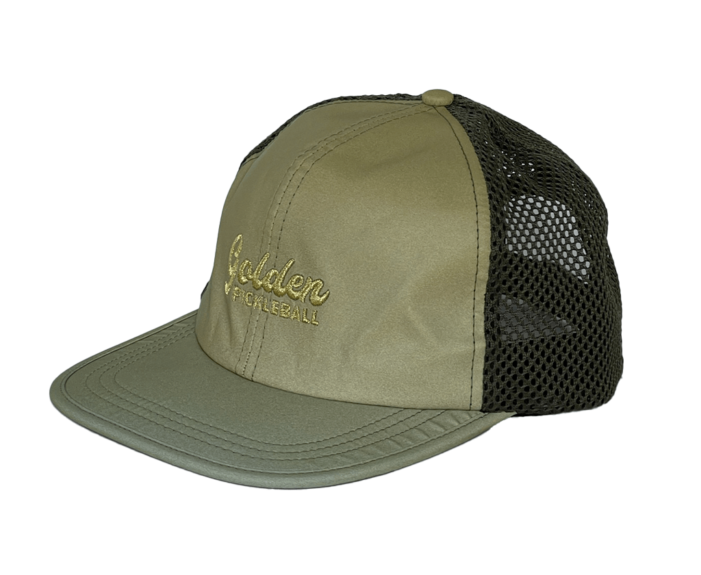 Gold Reflective Mesh-Back Hat - Golden Pickleball Paddles
