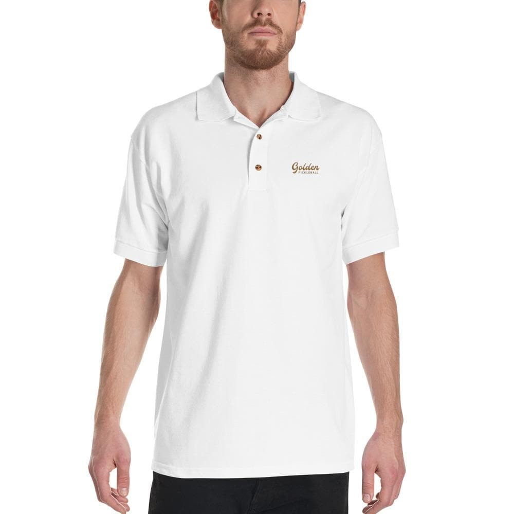 Golden Logo Embroidered Polo Shirt - Golden Pickleball Paddles