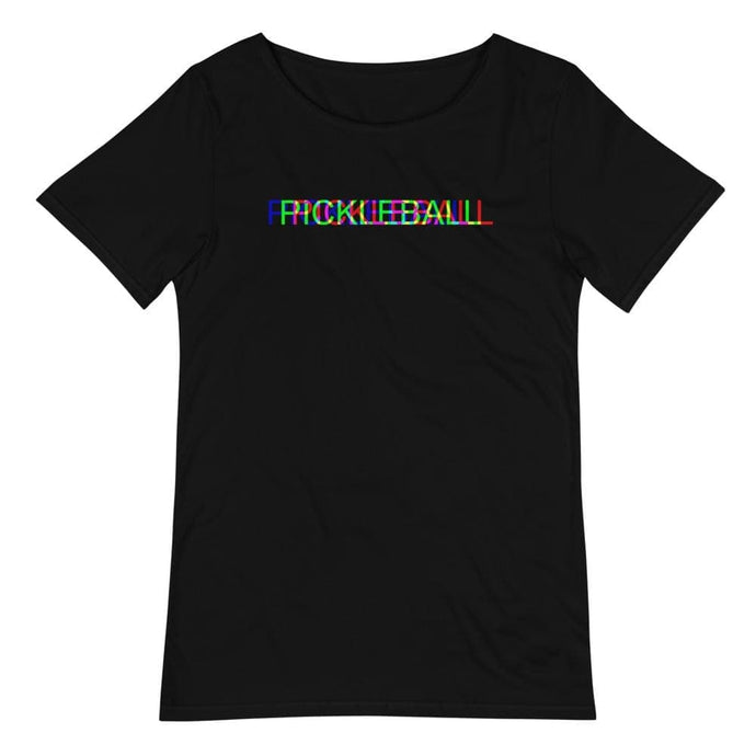 Pickleball Glitch Men's Raw Neck Tee - Golden Pickleball