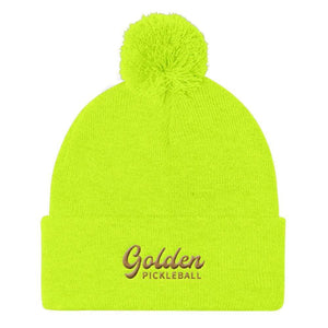 Golden Logo Pom Pom Knit Cap - Golden Pickleball Paddles