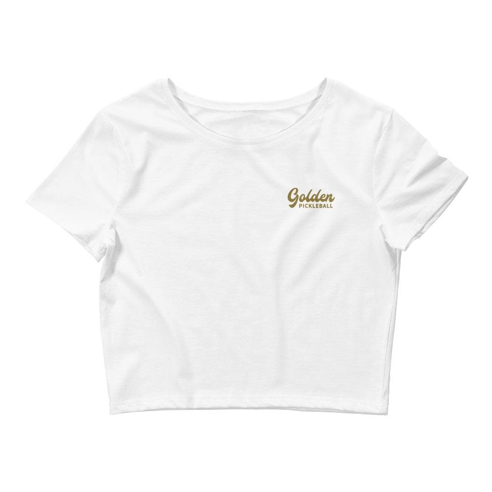 Golden Logo Women's Crop Tee - Golden Pickleball Paddles