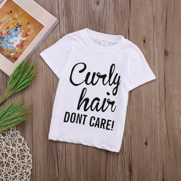 Curly Hair Don't Care T-Shirt -  Hipster Kids Style. Youth Clothing and apparel Outfitters for hipster kids, toddlers, and babies.