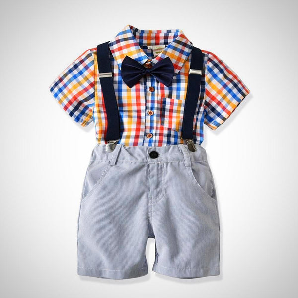 Plaid Bowtie Shirt, Suspenders+Shorts 2pc Outfit -  Hipster Kids Style. Youth Clothing and apparel Outfitters for hipster kids, toddlers, and babies.