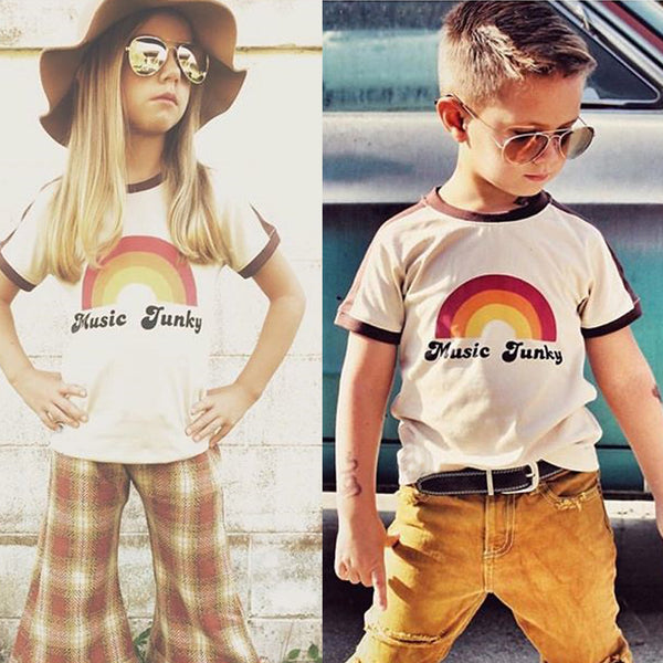 Music Junky Cotton T-shirt -  Hipster Kids Style. Youth Clothing and apparel Outfitters for hipster kids, toddlers, and babies.