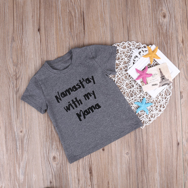 Namast'ay With My Mama T-Shirt -  Hipster Kids Style. Youth Clothing and apparel Outfitters for hipster kids, toddlers, and babies.