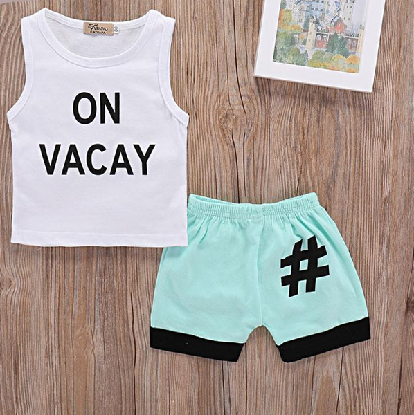 #OnVacay 2pc Summer Outfit -  Hipster Kids Style. Youth Clothing and apparel Outfitters for hipster kids, toddlers, and babies.