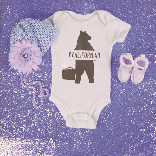 California Bear Baby Onesie -  Hipster Kids Style. Youth Clothing and apparel Outfitters for hipster kids, toddlers, and babies.
