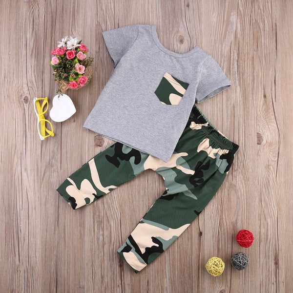 Gray Camo 2pc Outfit -  Hipster Kids Style. Youth Clothing and apparel Outfitters for hipster kids, toddlers, and babies.