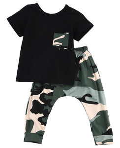 Black Camo 2pc Outfit -  Hipster Kids Style. Youth Clothing and apparel Outfitters for hipster kids, toddlers, and babies.