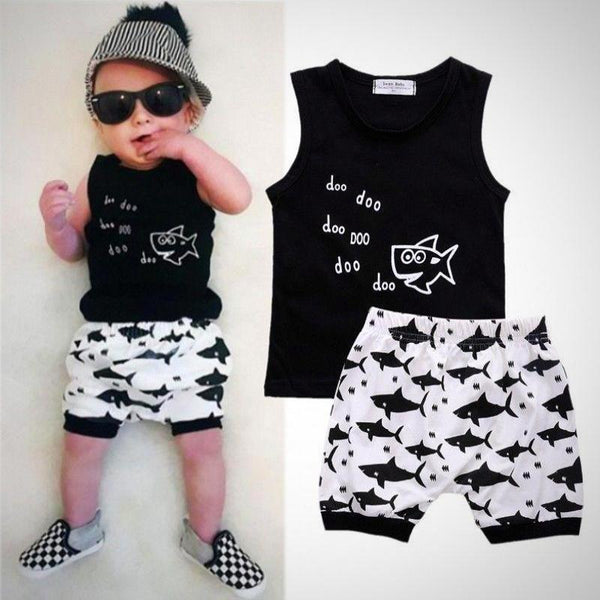 Baby Shark Summer Sleeveless  2pc Outfit -  Hipster Kids Style. Youth Clothing and apparel Outfitters for hipster kids, toddlers, and babies.