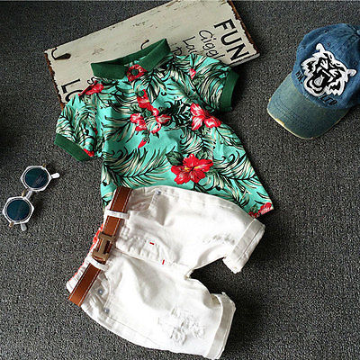 Flower Polo + Shorts 2pc Outfits -  Hipster Kids Style. Youth Clothing and apparel Outfitters for hipster kids, toddlers, and babies.