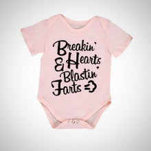 Breakin' Hearts and Blastin' Farts Baby Onesie -  Hipster Kids Style. Youth Clothing and apparel Outfitters for hipster kids, toddlers, and babies.
