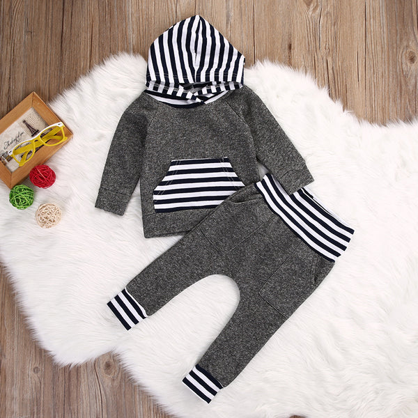 Striped Long Sleeve Hoodie+Pants 2pcs Outfit -  Hipster Kids Style. Youth Clothing and apparel Outfitters for hipster kids, toddlers, and babies.