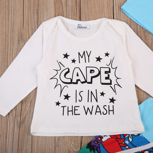 My Cape is in the Wash 3pc Outfit -  Hipster Kids Style. Youth Clothing and apparel Outfitters for hipster kids, toddlers, and babies.