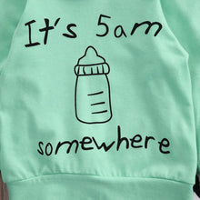 It's 5 am Somewhere Sweatshirt + Long Pants 2pc Outfits -  Hipster Kids Style. Youth Clothing and apparel Outfitters for hipster kids, toddlers, and babies.
