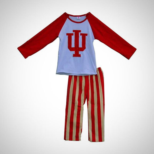 Indiana Hoosiers Candy Stripes 2pc Outfit -  Hipster Kids Style. Youth Clothing and apparel Outfitters for hipster kids, toddlers, and babies.
