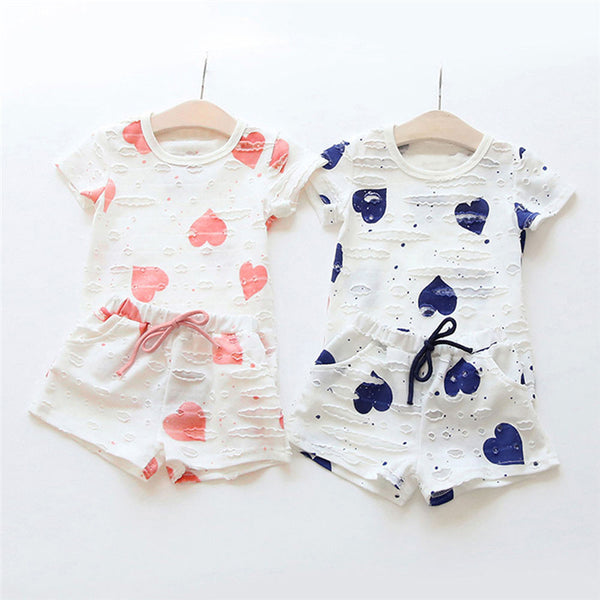 Heart T-Shirt + Shorts 2pc Summer Outfit -  Hipster Kids Style. Youth Clothing and apparel Outfitters for hipster kids, toddlers, and babies.