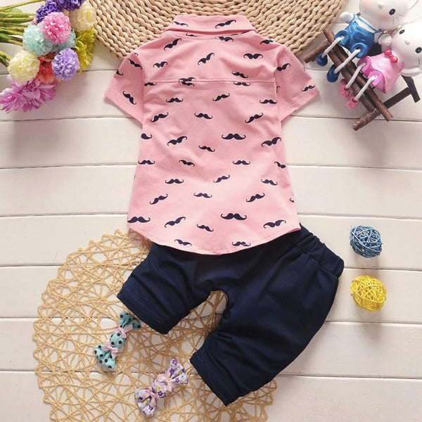 Moustache Pattern Lapel Shirt+Pants 2pc Outfit -  Hipster Kids Style. Youth Clothing and apparel Outfitters for hipster kids, toddlers, and babies.