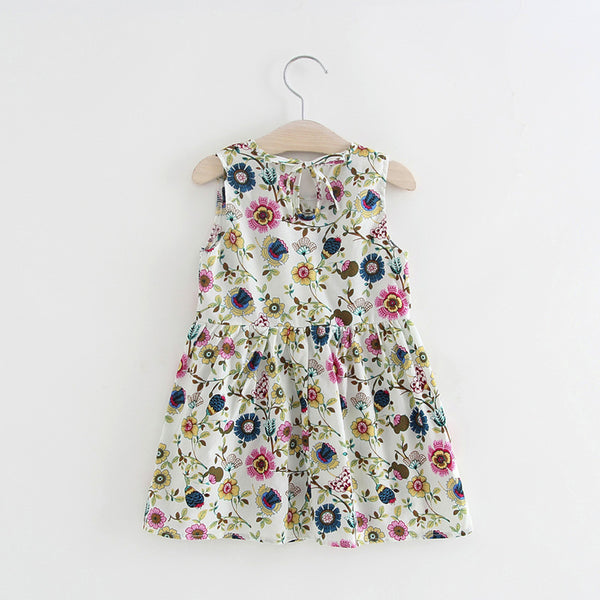 Floral Print White Summer Dress -  Hipster Kids Style. Youth Clothing and apparel Outfitters for hipster kids, toddlers, and babies.