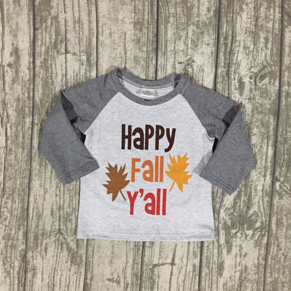 Happy Fall Y'all Long Sleeve T-Shirt -  Hipster Kids Style. Youth Clothing and apparel Outfitters for hipster kids, toddlers, and babies.