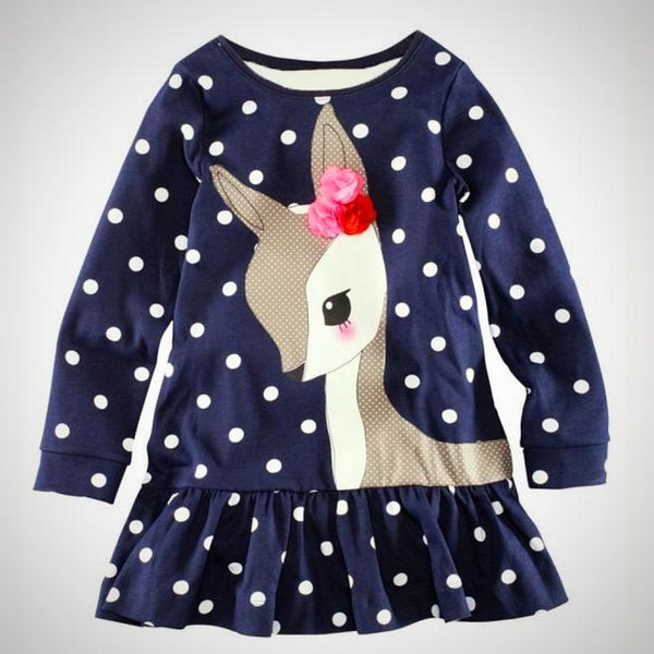Autumn Deer Polka Dot Dress -  Hipster Kids Style. Youth Clothing and apparel Outfitters for hipster kids, toddlers, and babies.