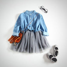 Denim Long Sleeve Tutu Dress 1 pc Outfit -  Hipster Kids Style. Youth Clothing and apparel Outfitters for hipster kids, toddlers, and babies.